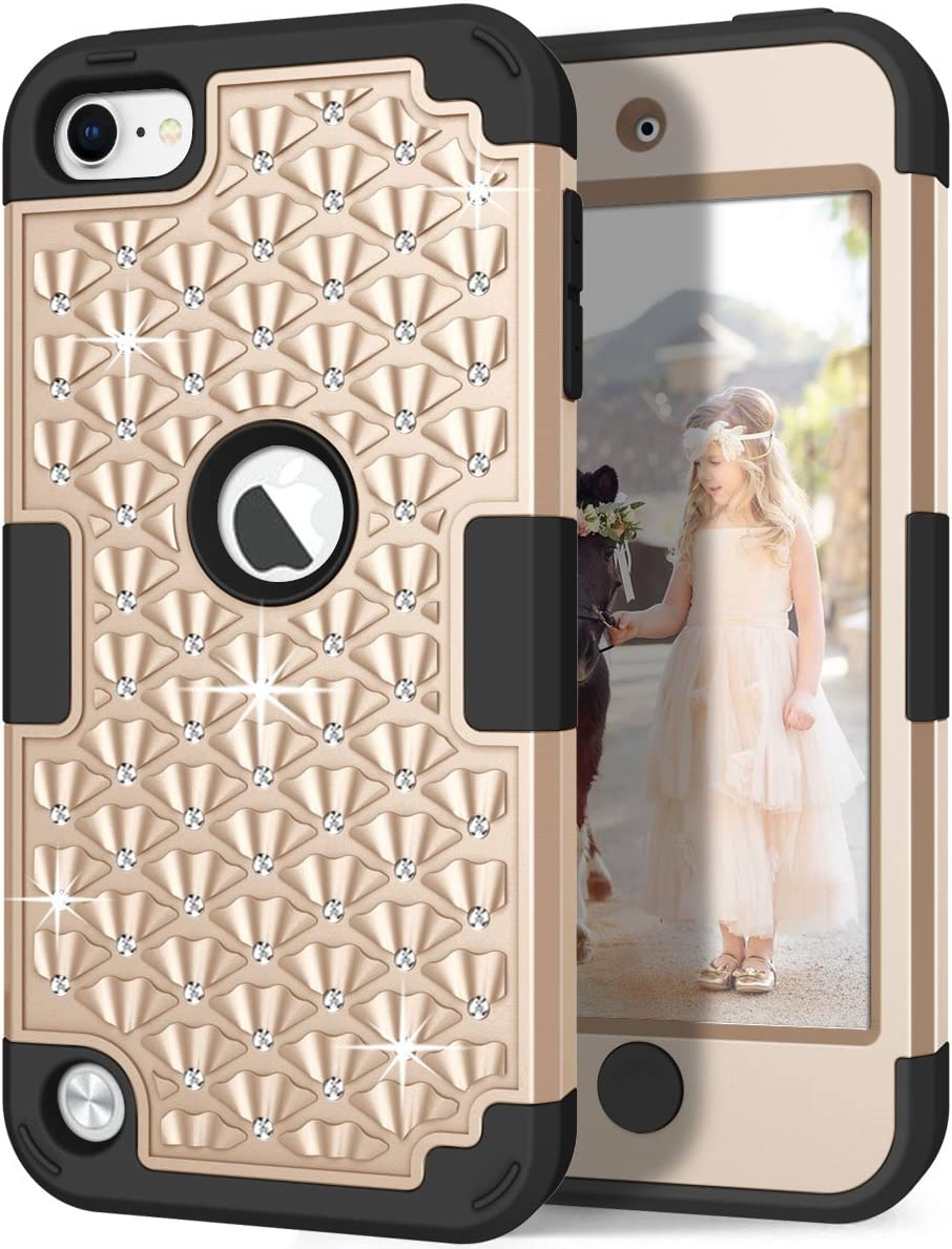 Hocase iPod Touch 7th/6th/5th Generation Case, Shockproof Heavy Duty Silicone Rubber+Hard Plastic Glitter Protective Case for iPod Model A2178, A1574, A1509, A1421 - Champagne Gold/Black