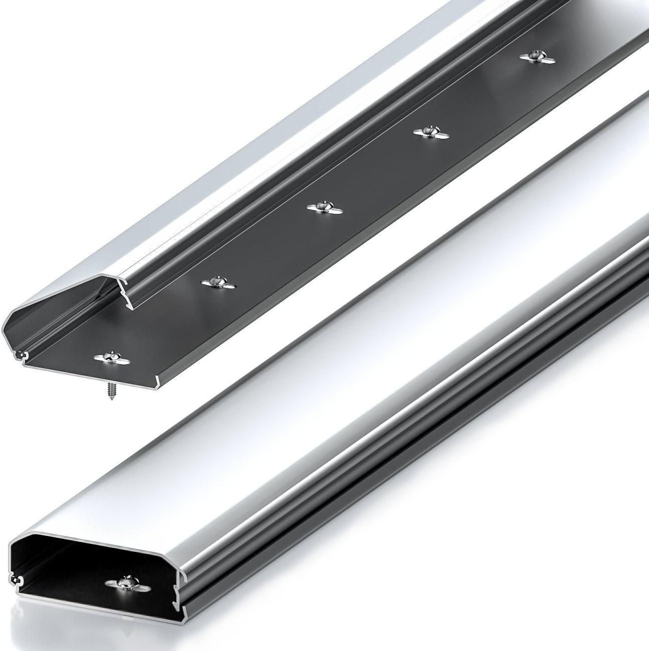 deleyCON Canaleta Universal para Cables y Líneas Aluminio de Primera Calidad Longitud 50cm Ancho 6cm Altura 2cm - Plata