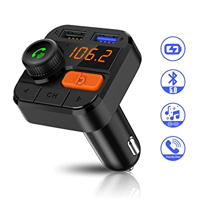 FITNATE Car Bluetooth FM Transmitter,Upgraded Version Bluetooth5.0 Wireless Car FM Radio Music Player,Super Bass, Support Hands-Free Calling: MP3 Players & Accessories [5Bkhe0412039]