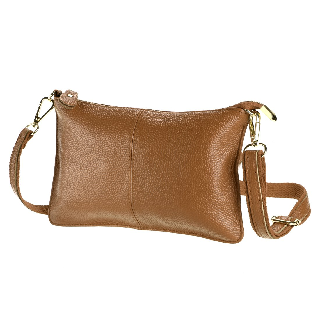 SEALINF Women's Cowhide Leather Clutch Handbag Small Shoulder Bag Purse (taupe)