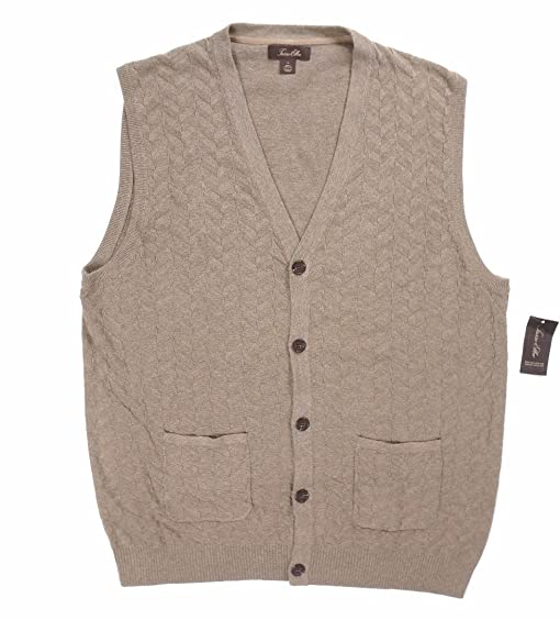 Tasso Elba Mens Knit Button-Up Sweater Vest Brown L at Amazon ...