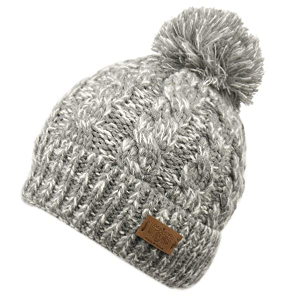 dd5115699618a ANGELA   WILLIAM Winter Oversized Cable Knitted Pom Pom Beanie Hat with Fleece  Lining. (A Mix Gray) at Amazon Women s Clothing store