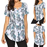 KESEELY Ladies Vintage Blouse - Womens Short Sleeve Print Tops Casual Flare Tunic Square Neck Slim Blouse Shirt