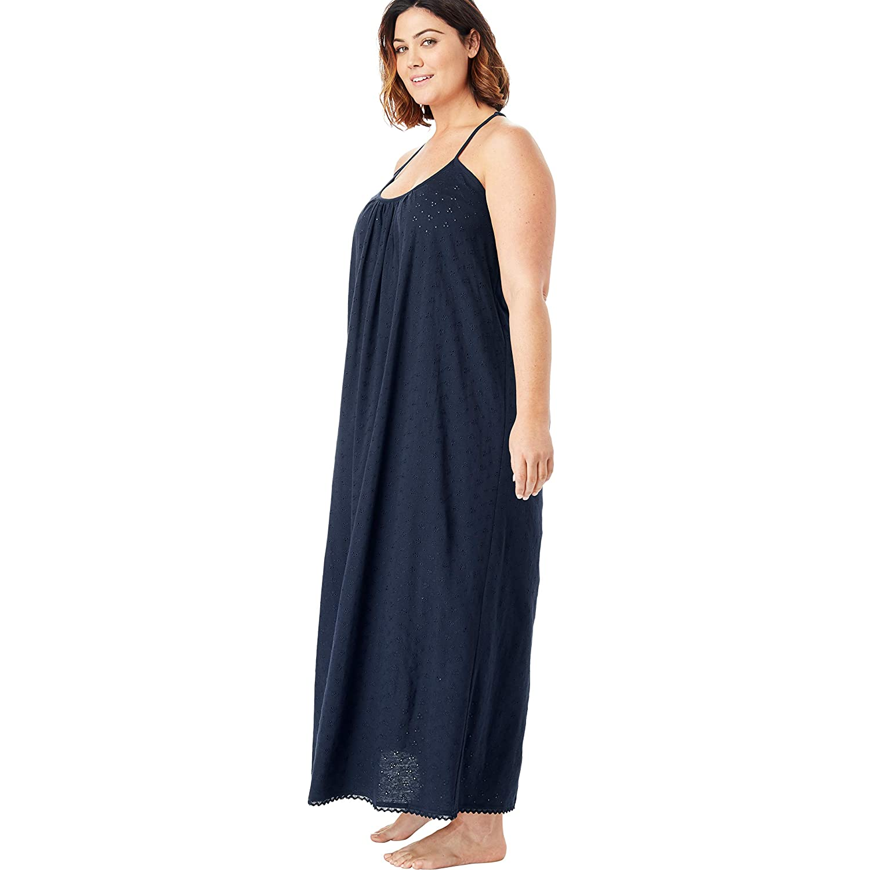 4f5b3710bbd91 Dreams & Co. Women's Plus Size Breezy Eyelet Knit Long Nightgown at Amazon  Women's Clothing store: