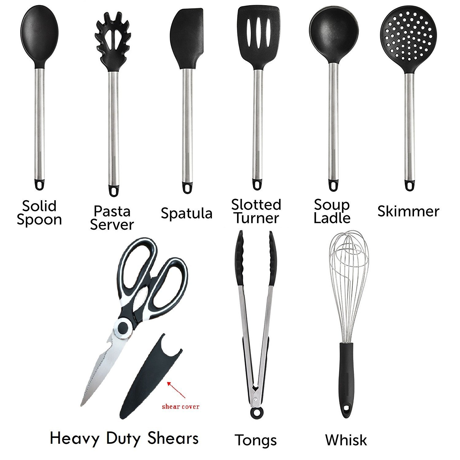 Deal Bonanza Original Silicone and Stainless Steel Kitchen Utensil 9 Piece Set-Turner, Serving Spoon,Strainer,Ladle,Spatula,Pasto Server, Tongs, Whisk and Multi Purpose Scissors Included.