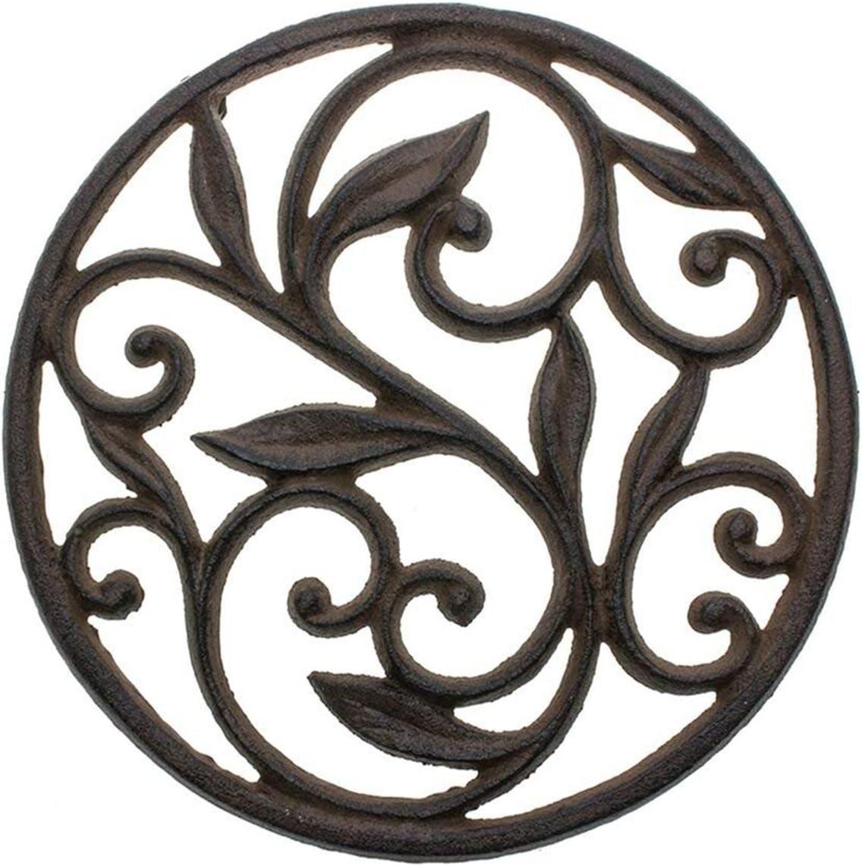 Trébedes decorativa del arrabiopara lacocina o la mesa de comedor   Redondo con patrón Vintage-Con clavijas/pies de goma - Metal reciclado - Vintage, Diseño rústico - Color marrón óxido - porComfify