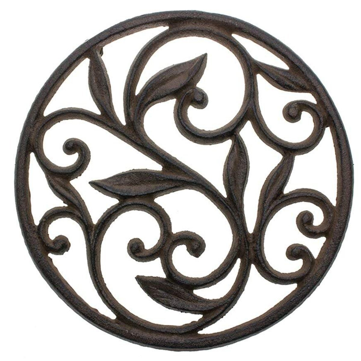 """Cast Iron Trivet - Round with Vintage Pattern - Decorative Cast Iron Trivet For Kitchen Or Dining Table - 7.7"""" Diameter - Rust Brown Color - With Rubber Pegs by Comfify"""