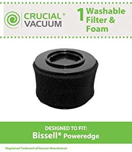 Crucial Vacuum Replacement Air Filter - Washable Dust Cup Vacuum Air Filters Parts - Compatible with Bissell PowerEdge Hard Floor Vacuum Models 81L2 and 81L2T - Replace Filter Part 54A2 - (1 Pack)