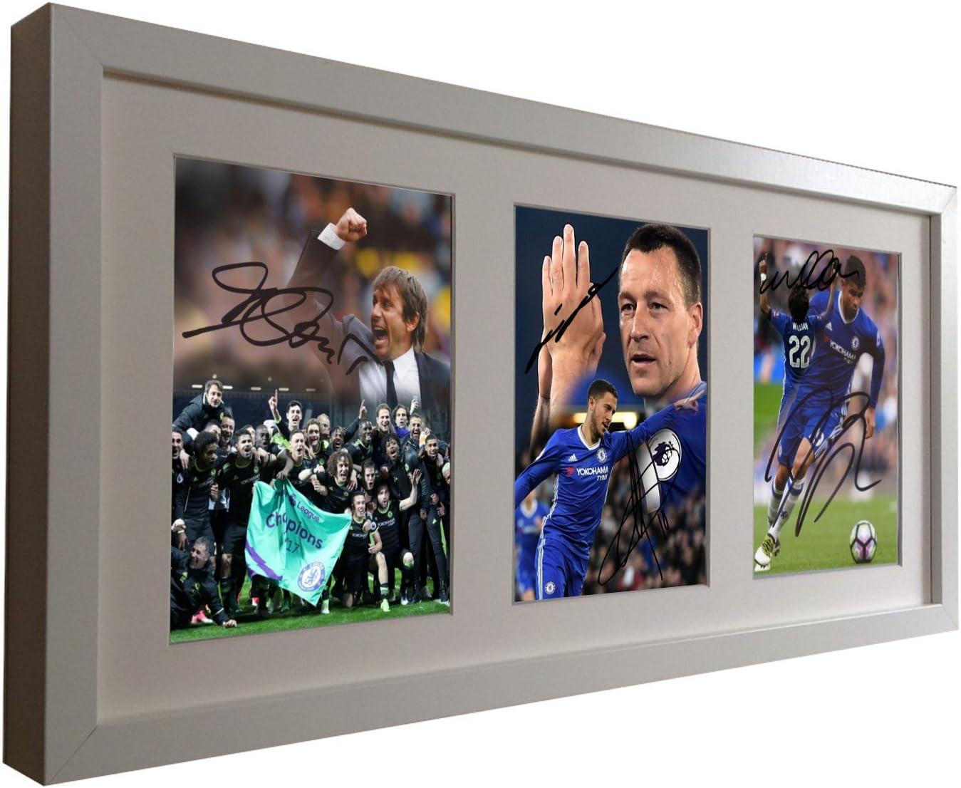 Signed Soccer White Celebration Edition 2017 Premier League Win Conte-John Terry-Eden Hazard-Willian-Deigo Costa Chelsea Autographed Photo Photographed Picture Frame Football Gift