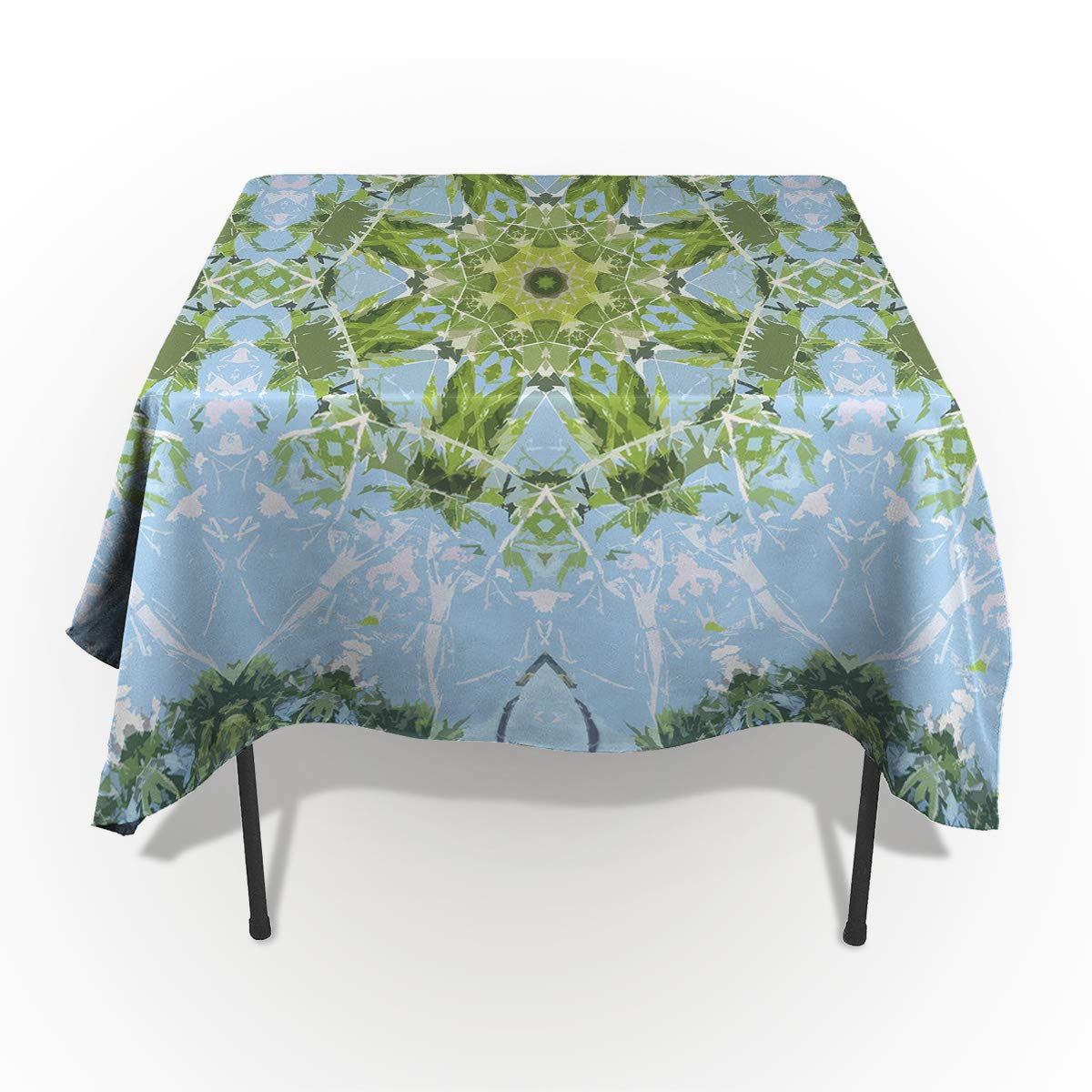 Laibao Rectangle Tablecloths for Kitchen Dinning Table Green Blue Mandara Floral Pattern Cotton Linen Table Cover for Holiday Dinner Party/Wedding/Outdoor Patio 60x90in