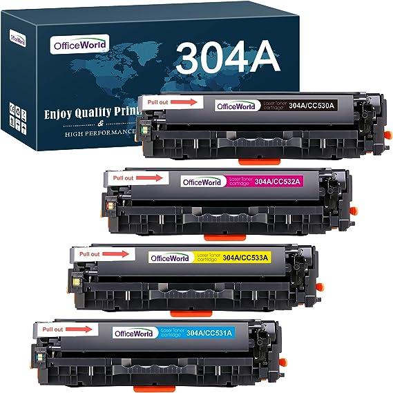 Officeworld Hp 304a Toner Cartridge Replacement For Cc530a Cc531a Cc532a Cc533a Toner Compatible With Hp Color Laserjet Cm2320fxi Cm2320nf Cp2320 Cp2025 Cp2025n 1 Black 1 Cyan 1 Magenta 1 Yellow Bürobedarf Schreibwaren