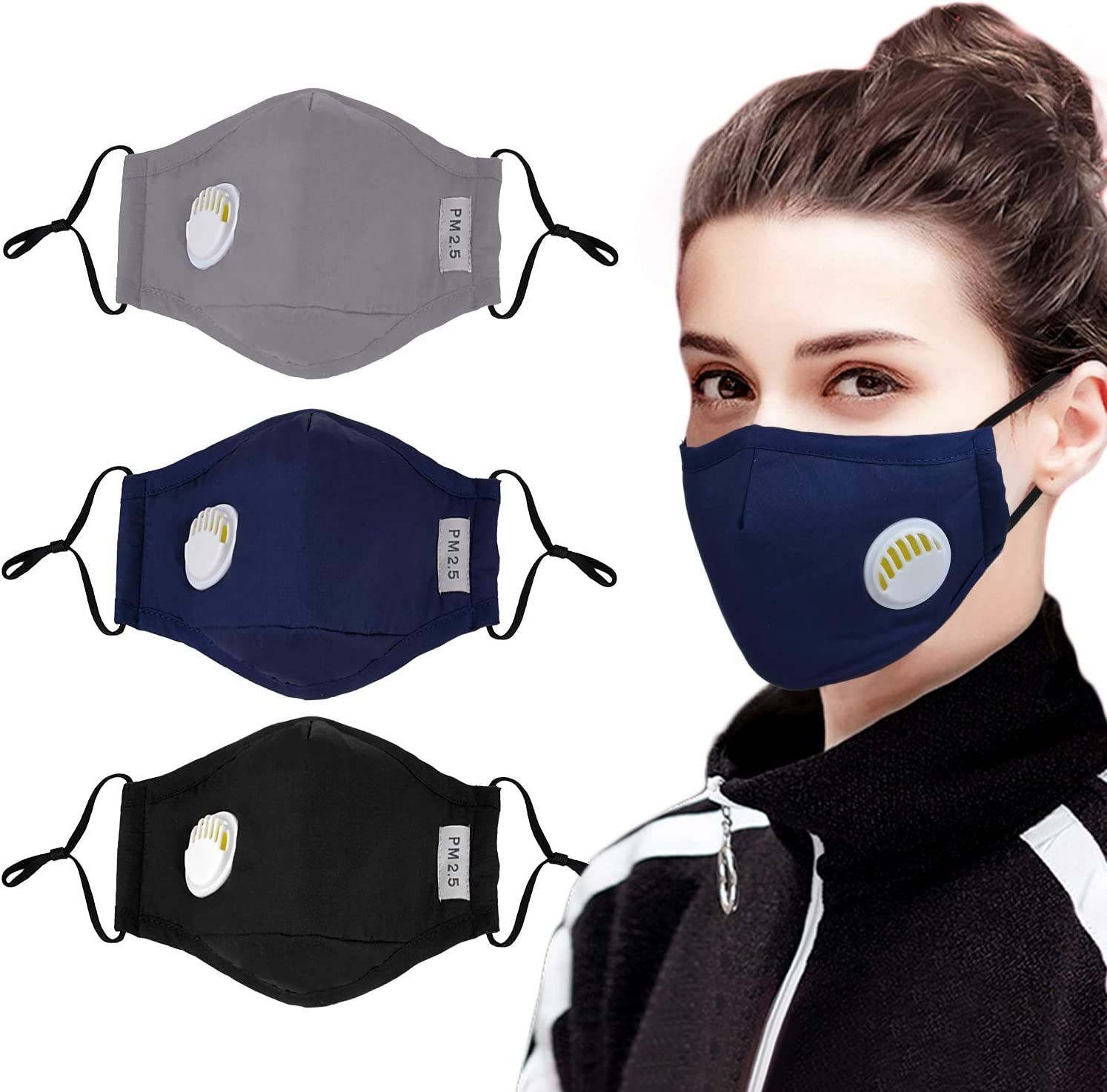 Black Cloth Face Cover Breathable Material with 4 Active Carbon Filter Pads