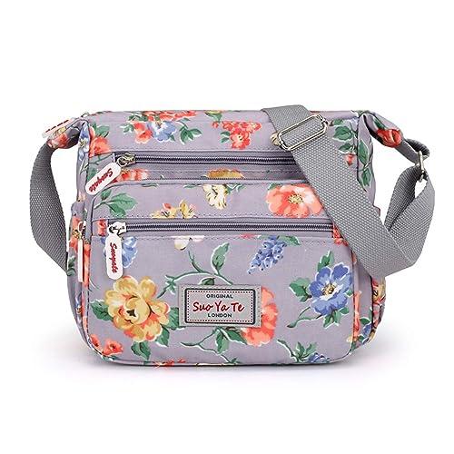 a96c7f8d5cfe Casual Nylon Floral Shoulder Bag For Women Crossbody Bag Messenger Bags  Travel Handbags With Adjustable Strap Waterproof