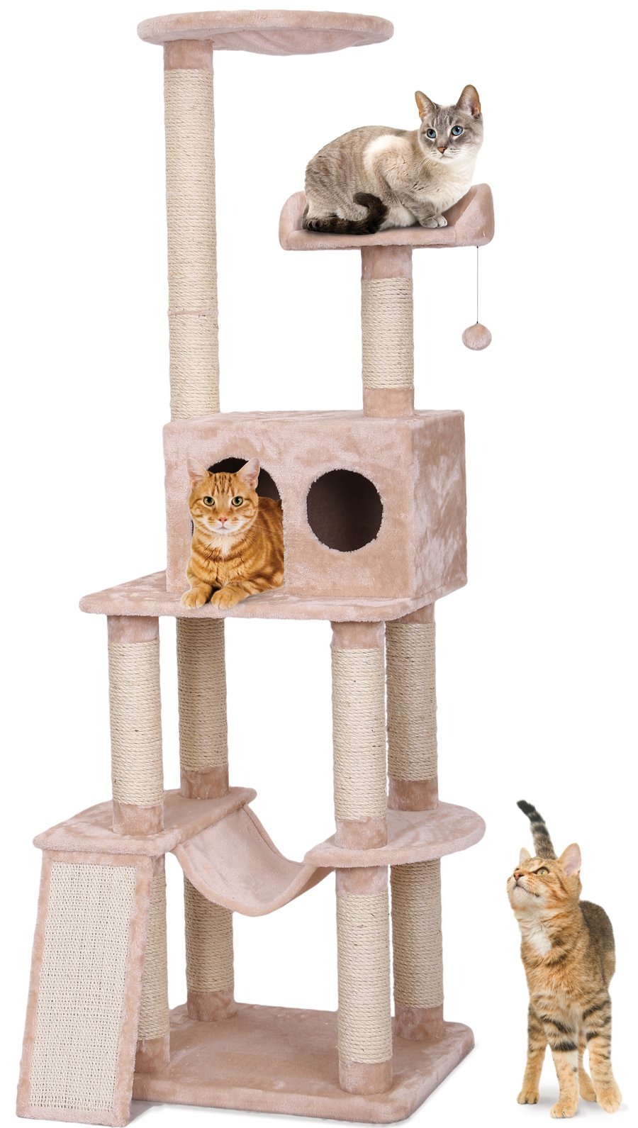 Penn Plax Contemporary Cat Tower, 4 Levels with Hide-Away, Cat Toy, and Climbing Ramp, 73 Inch Height