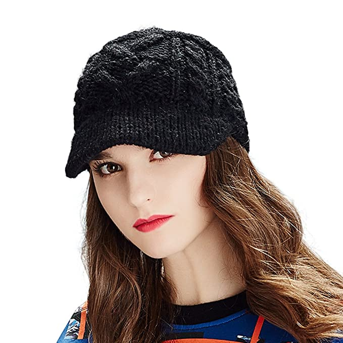 5e9e0633cb3 Kenmont Winter Alpaca Taqiyah Hand Knitted Hat Newsboy Cable for Women in  Black