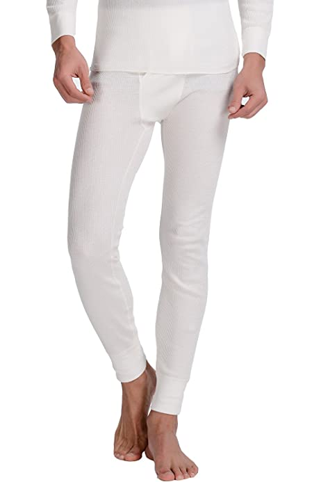 VARIOUS SIZES ABSOLUTE CHILL COTTON MENS THERMAL LONG JOHNS WHITE ONLY
