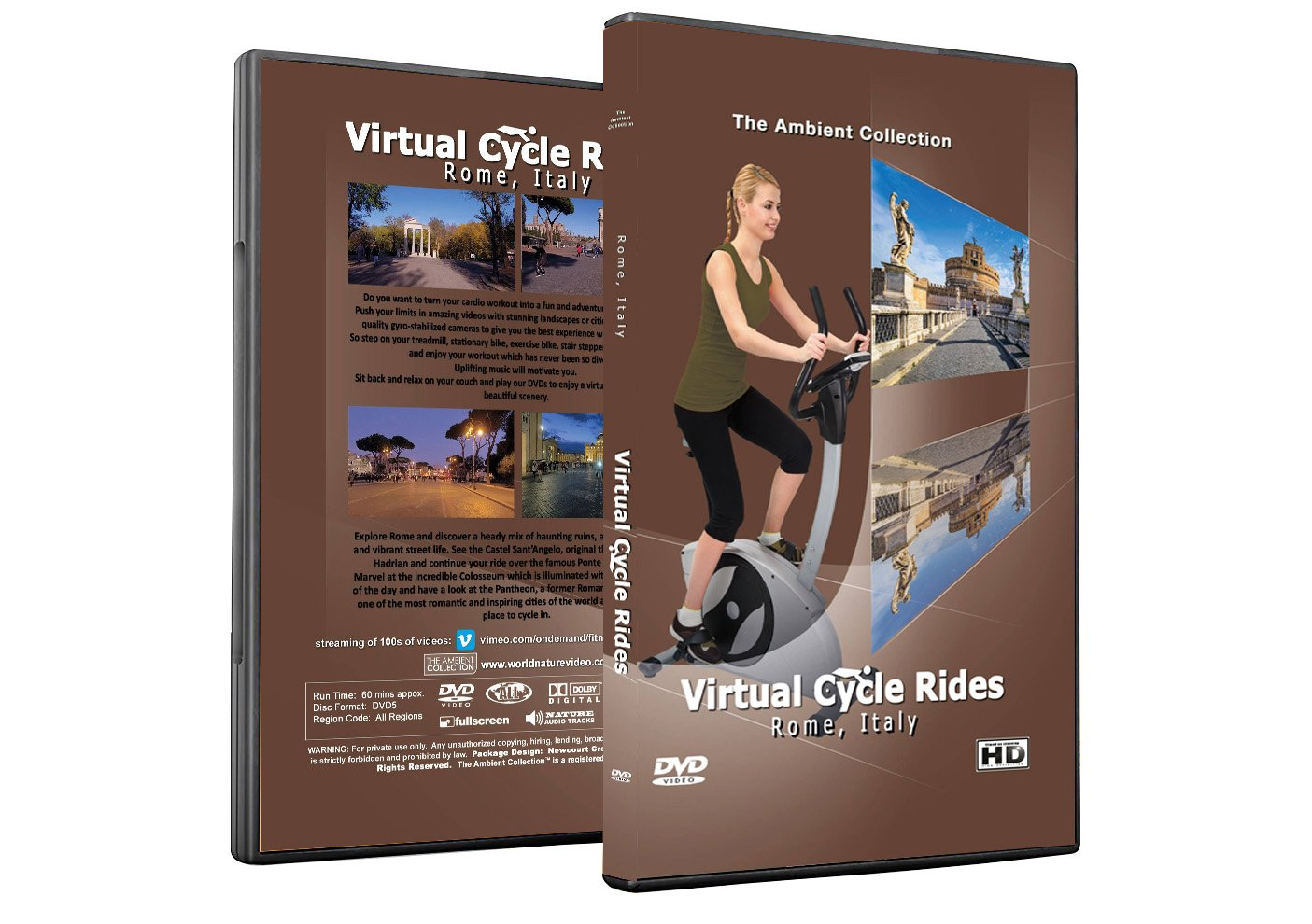 Virtual Cycle Rides DVD - Rome, Italy - for Indoor Cycling, Treadmill and Jogging Workouts