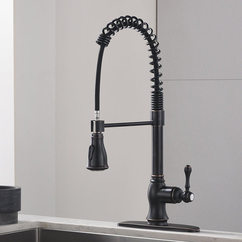 Comllen Best Antique Oil Rubbed Bronze Pull Down Sprayer Kitchen Faucet, Kitchen Sink Faucet with Deck Plate