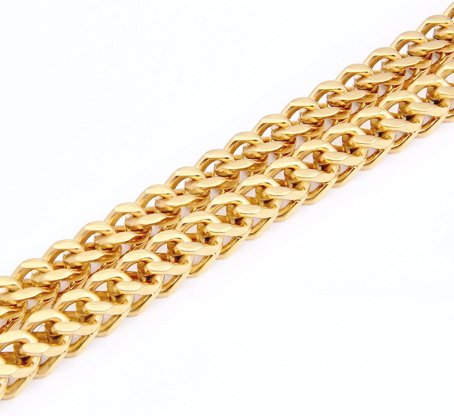 Gold MENDINO Mens Stainless Steel Necklace Twist Link Chain Width 8mm with a Velvet Bag