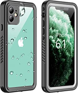 Vapesoon Designed for iPhone 11 Waterproof Case, Built-in Screen Protector Full-Body Clear Call Quality Heavy Duty Shockproof Cover Case for iPhone 11 2019(6.1 Inch)-Black/Clear