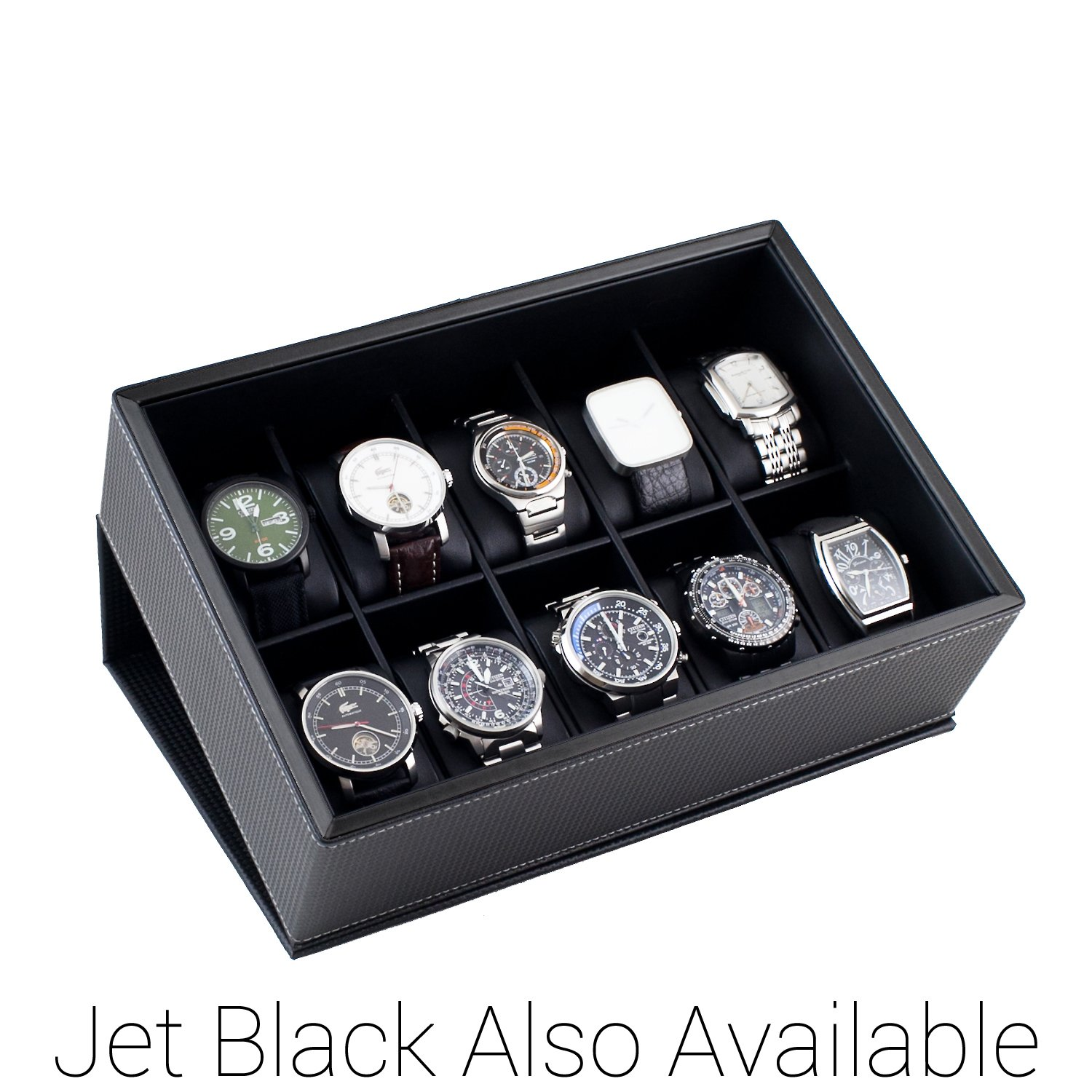 Caddy Bay Collection Watch Case Display Box Holds 10 Large Watches with Black Carbon Fiber Pattern Exterior and Krypton Green Trim