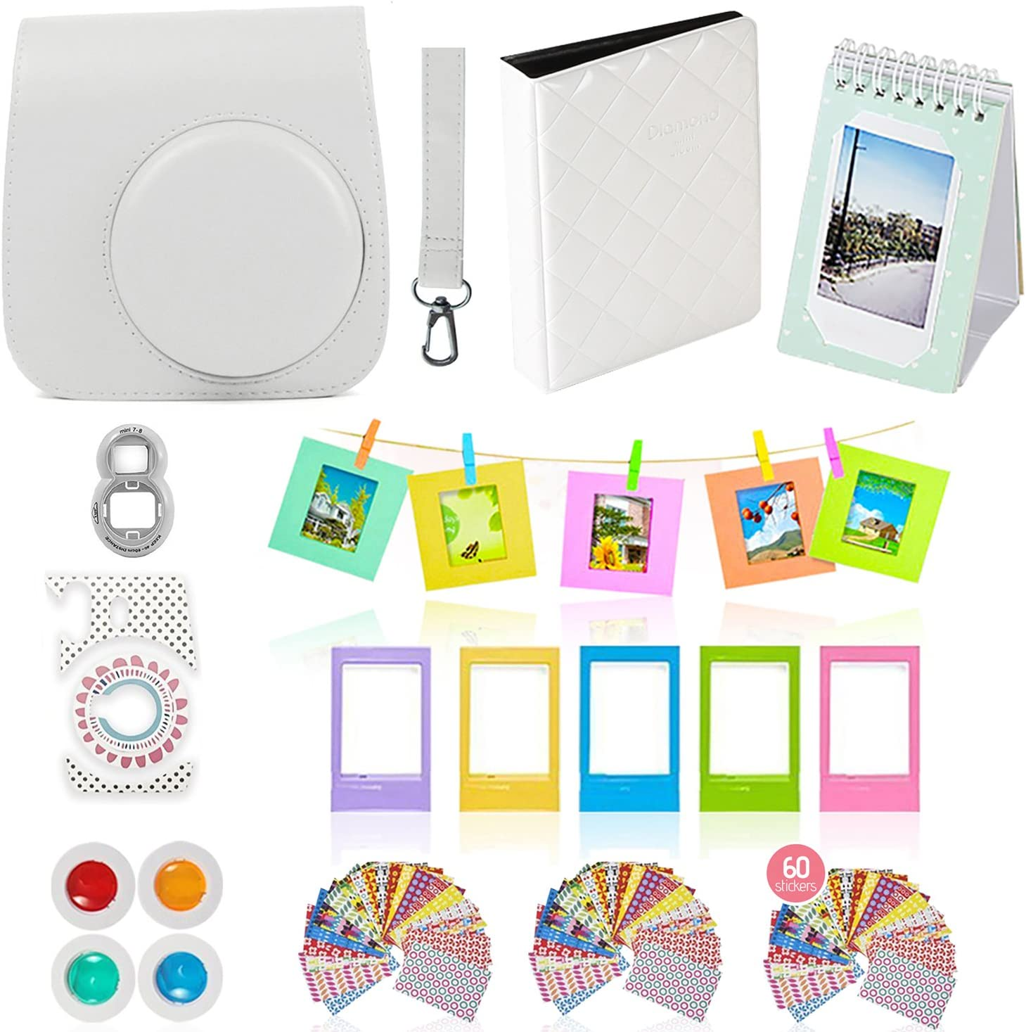 for Fujifilm Instax Mini 8 9 Camera Accessories Bundle Set Camera Case, instax Mini Album, Film Stickers, Color Filter, Photo Frame, Seflie Lens -Rainbow Mist