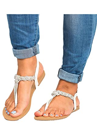 c761f0117 Amazon.com  Rhinestone Buckle Sandals