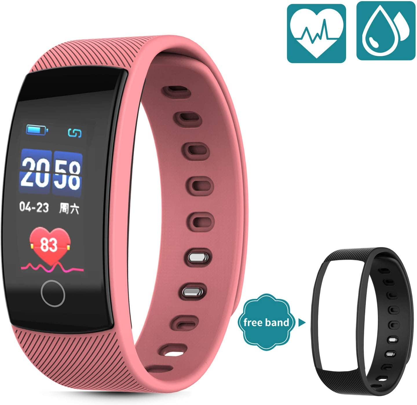 HUPPER Fitness Trackers – Heart Rate Monitor, Pedometer, Sleep Monitor and IP 67 Waterproof Activity Tracker Watch with 5 Sport Modes, Step and Calorie Counter for Kids Women and Men