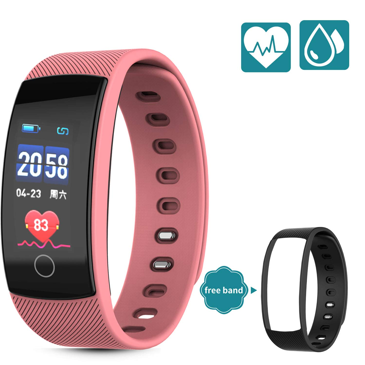 HUPPER Fitness Trackers - Heart Rate Monitor, Pedometer, Sleep Monitor and IP 67 Waterproof Activity Tracker Watch with 5 Sport Modes, Step and Calorie Counter for Kids Women and Men by HUPPER