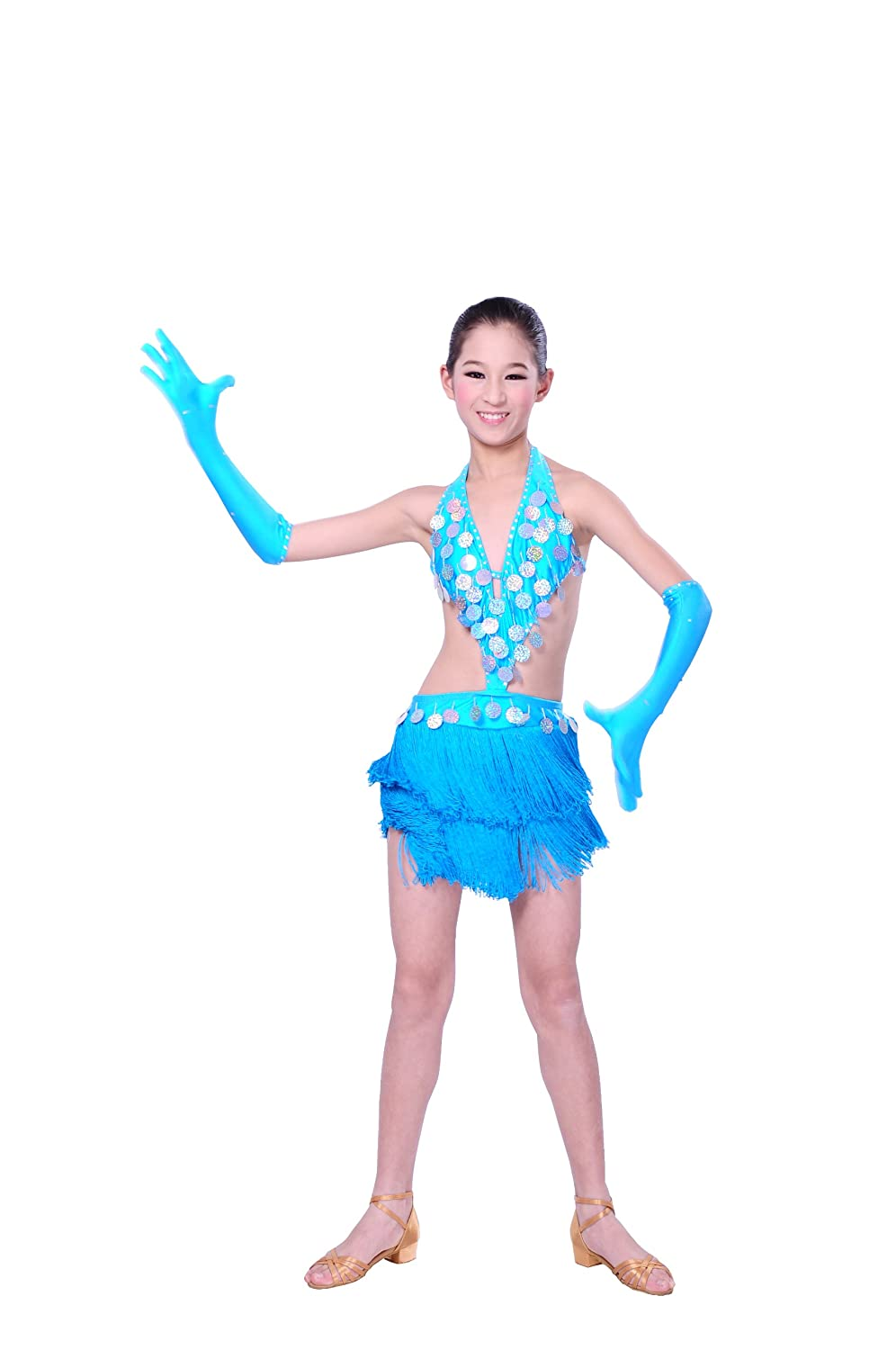 Colorfulworldstore Child Girls/Ladies Latin dance dress-Over all dress in 2sets-Sky blue