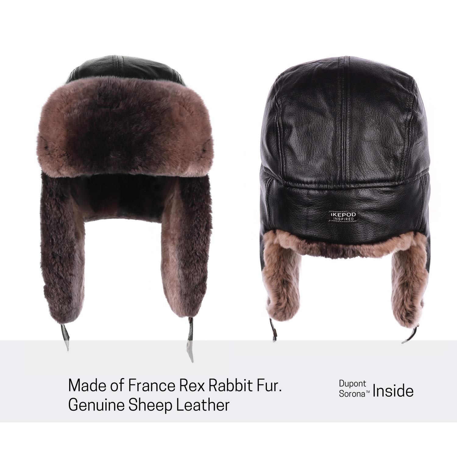 443578f806e90 ... IKEPOD Sheep Leather Rabbit Fur Aviator Russian Ushanka Ear Flap Winter  Men Trapper Hat ...