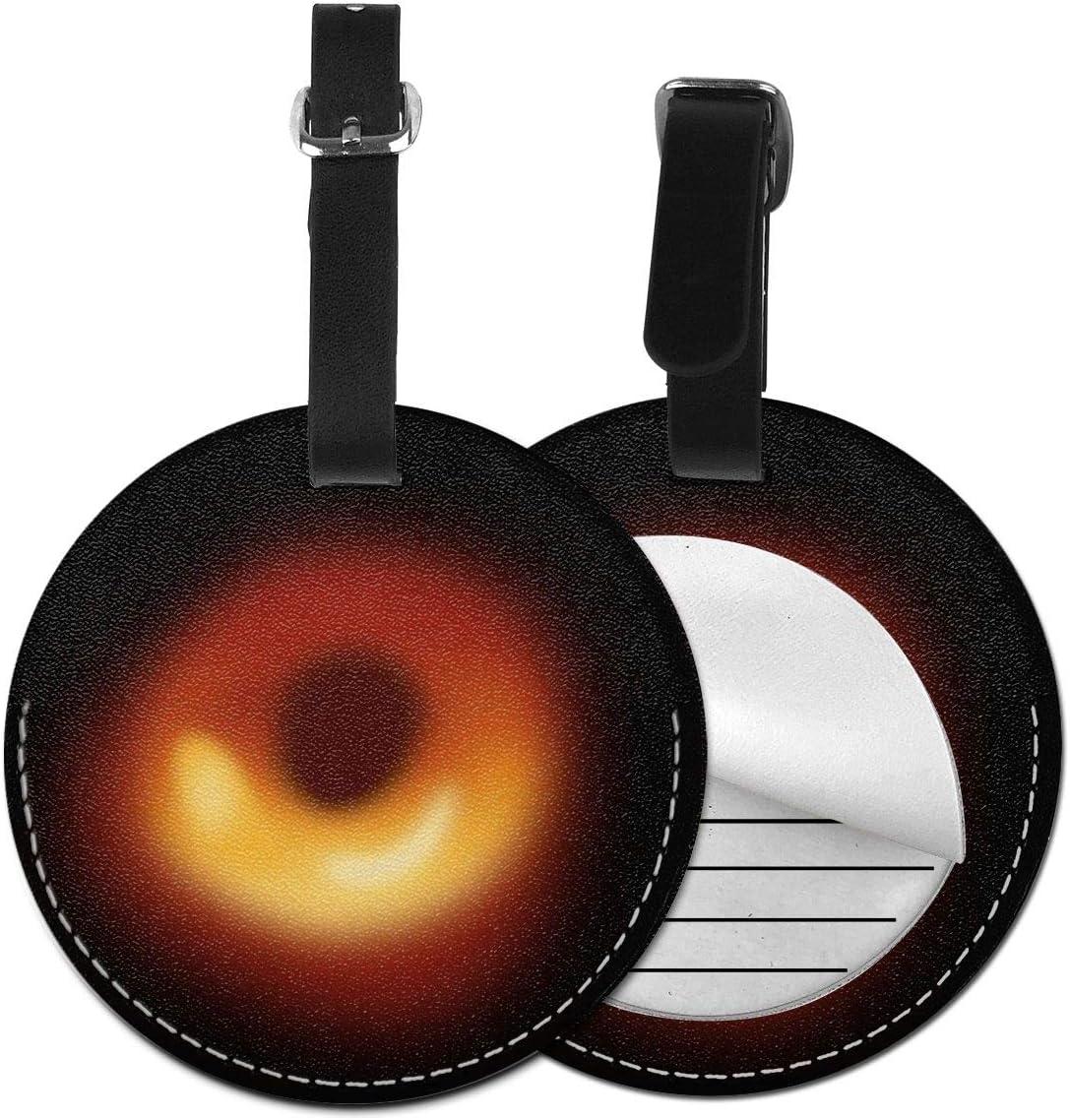 Etiquetas De Equipaje De Cuero Sintético Identificación De Nombre con Cubierta De Privacidad Trasera para Maleta De Viaje, Black Hole Discovery 2019