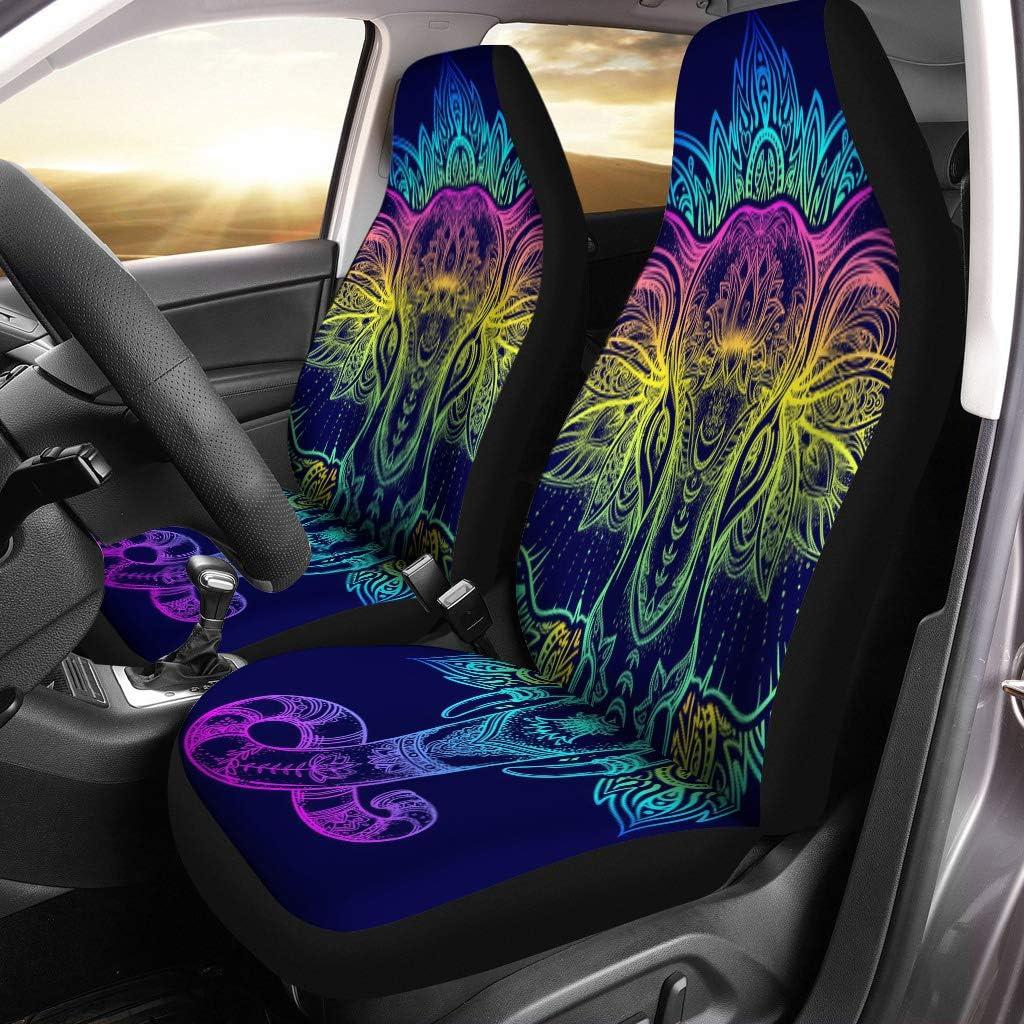 Goyentu Decorative Bohemian Blue Mandala Indian Elephant Black Car Seat Covers Full Set for Front Rear Saddle Blanket Universal Fit for Most SUV,Sedan,Van,Truck,Vehicle