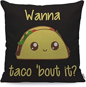 WONDERTIFY Throw Pillow Case Cover Taco with Letter Wanna Taco About It Yellow Black - Soft Linen Pillow Case for Decorative Bedroom/Livingroom/Sofa/Farm House -Cushion Covers Couch Pillow 18x18 Inch