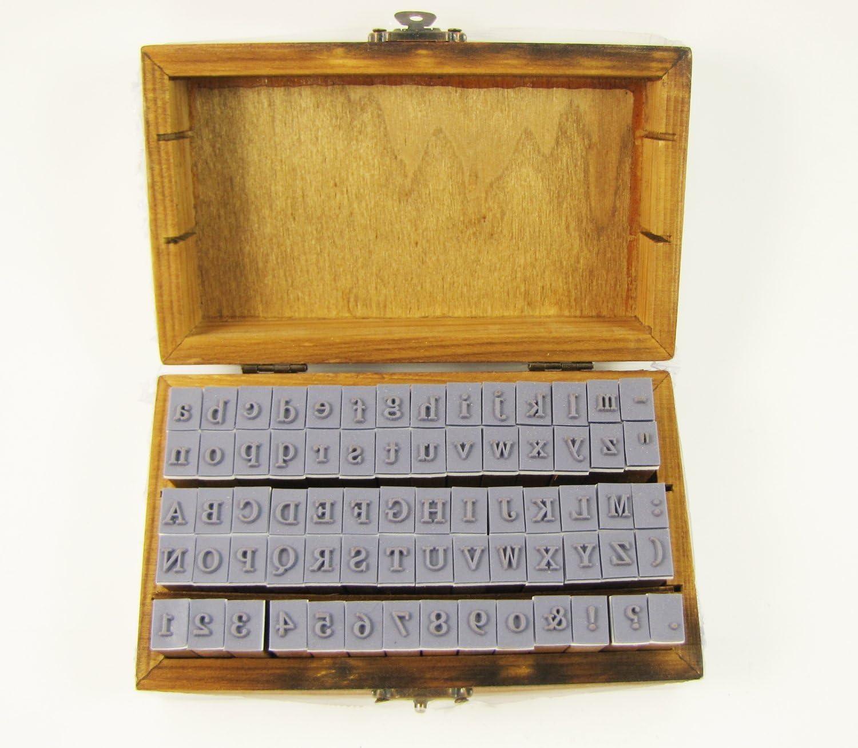 70pcs avec bo/îte de rangement en bois lettres en caoutchouc pour la fabrication de cartes bricolage Jeu de tampons en bois lettres en bois vintage