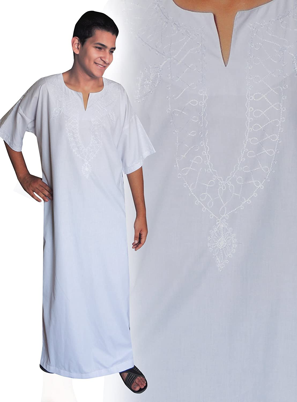 Weiss//wei/ß Farbe Egypt Bazar Moderner Herren-Kaftan