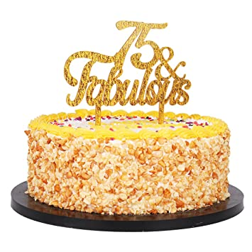 QIYNAO Gold Premium Quality Acrylic 75 Fabulous Cake Topper Happy 75th Birthday Anniversary Party Decoration