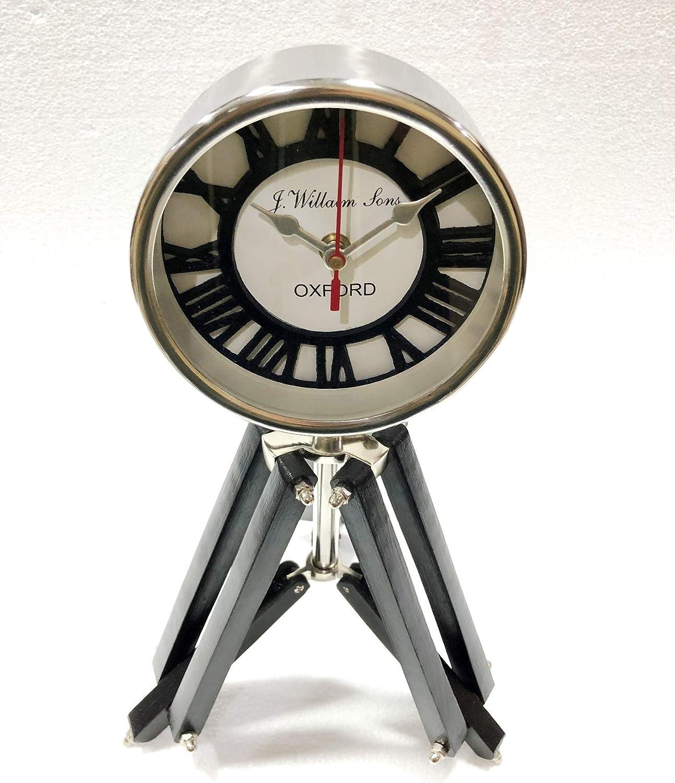 Nauticaz Brass Clock with Adjustable Wooden Tripos Stand Vintage Home Decorative Prop