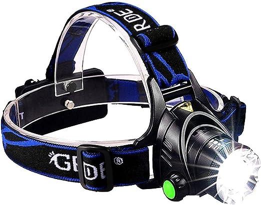 Linterna Frontal LED GRDE Super Brillante Linterna Frontal LED Enfoque Ajustable Frontal Running 90 Grado Ajustable Linterna de Cabeza Para ...