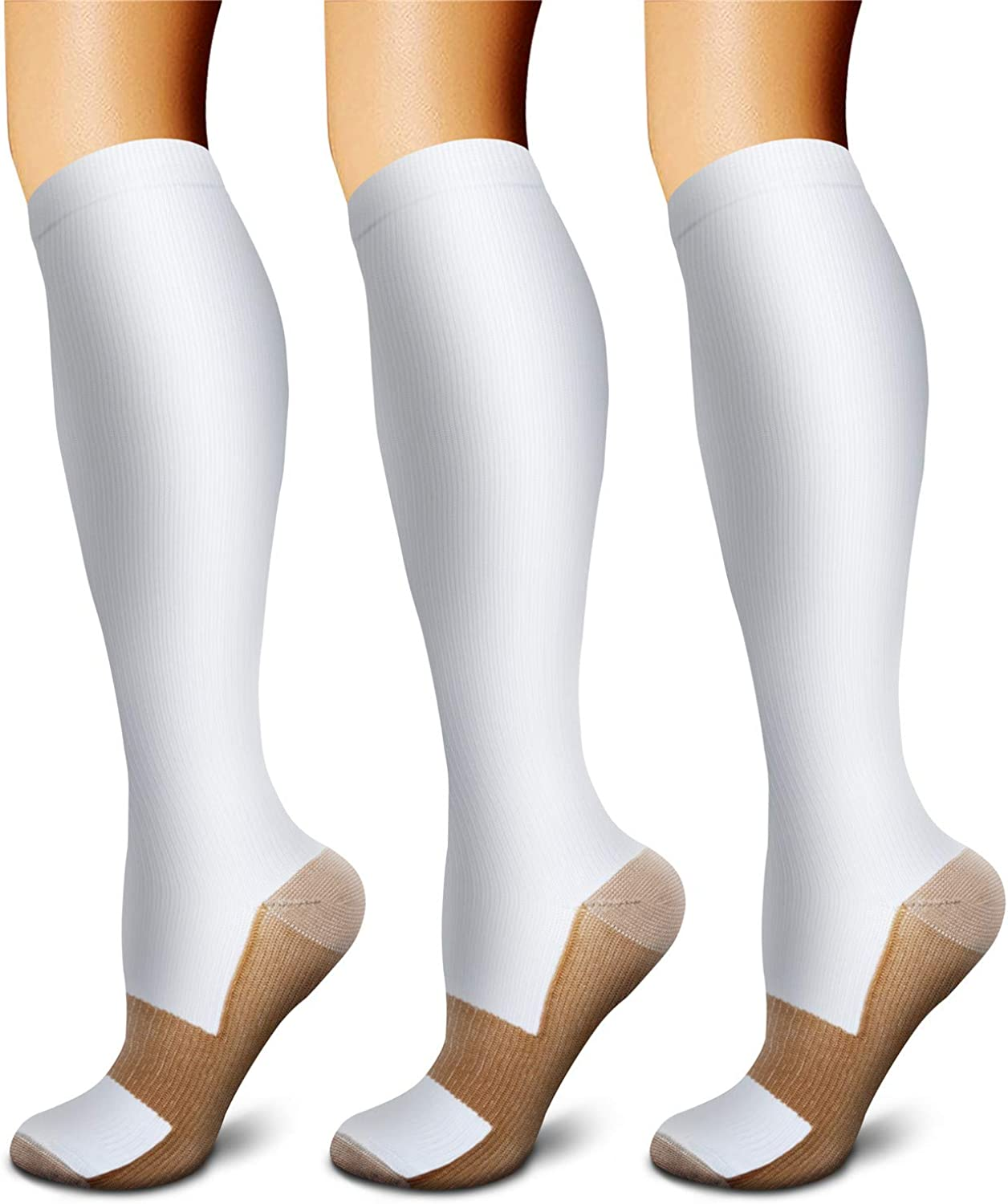 Copper Compression Socks (3 Pairs) 15-20 mmHg is Best Athletic & Daily for Men & Women, Running, Flight Travel, Climbing: Clothing