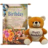 Saugat Traders Plush Happy Birthday Soft Teddy with Scroll Card (Red)