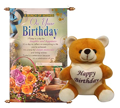 2bab5b722811 Buy Saugat Traders Plush Happy Birthday Soft Teddy with Scroll Card (Red)  Online at Low Prices in India - Amazon.in