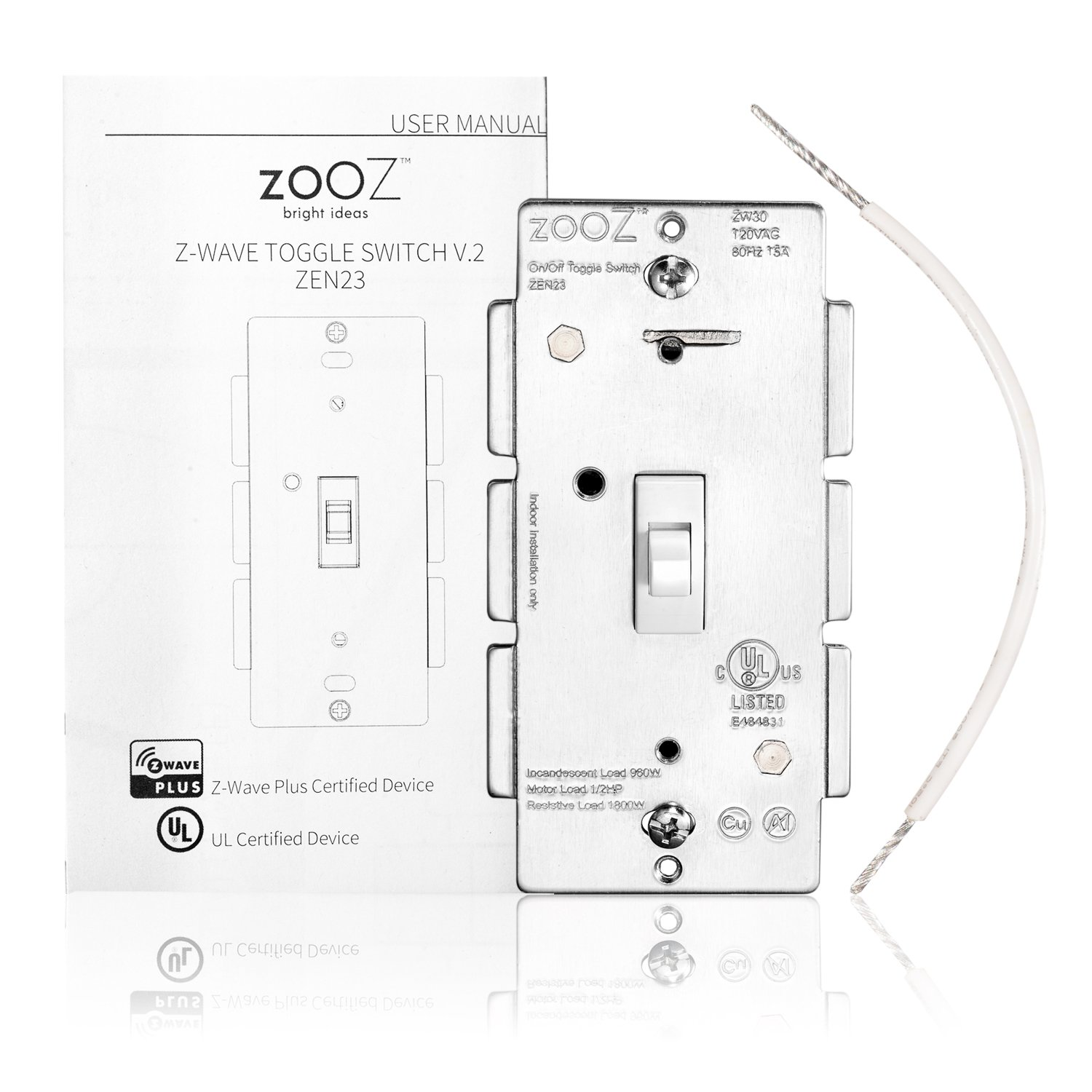 Zooz Z Wave Plus Toggle On Off Wall Switch Zen23 White Tk 80 Wiring Diagram Ver 20 Works With Existing Regular 3 Way Computers Accessories