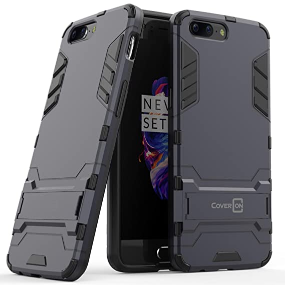 new concept 220cf 6764d OnePlus 5 Case, CoverON [Shadow Armor Series] Hard Slim Hybrid Kickstand  Phone Cover Case for OnePlus 5 - Navy/Black