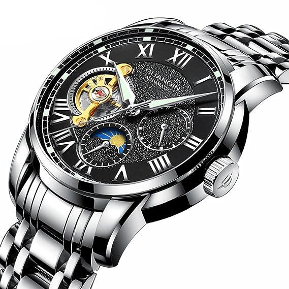 Marca de lujo reloj de esqueleto hombres deporte acero inoxidable impermeable mecánico automático reloj de pulsera: Amazon.es: Relojes