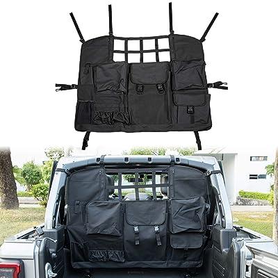 E-cowlboy for Jeep Wrangler Rear Seat Storage Trunk Organizer Dog Barrier for Jeep Wrangler JK JL 4-Doors 2007~2020 Waterproof Oxford Cloth Custom Fit - All Seasons (Black): Automotive