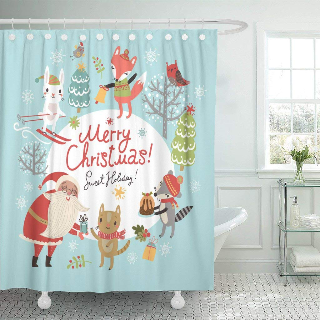Emvency Waterproof Fabric Shower Curtain Hooks Retro Christmas Santa And Cute Characters Merry Vintage December Extra Long 72X96 Bathroom Odorless Eco
