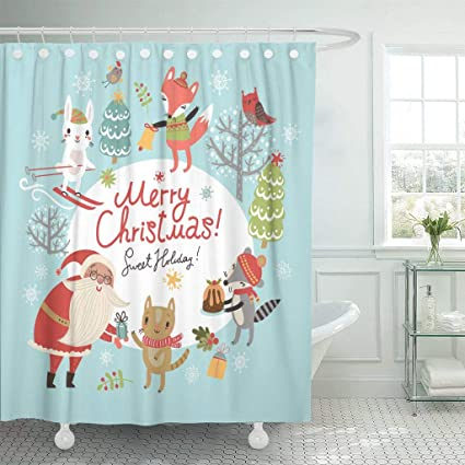 Emvency Waterproof Fabric Shower Curtain Hooks Retro Christmas Santa And Cute Characters Merry Vintage December Extra