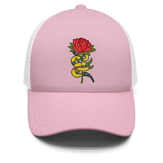 0949441922c1c HOIFDV Gold Snake Rose Kid Baseball Hats for Boys and Girls Fitted Flat  Brim Caps