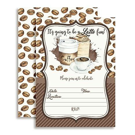 Amazon Watercolor Coffee Latte Fun Birthday Party Invitations